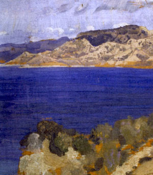 Oil painting of vivid blue sea and Turkish coastline looking towards Anzac cove- detail