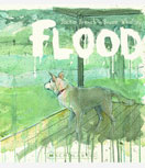 A dog looking out at rain on Flood book cover