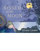 Book cover with a mother and child looking out to a purple night sky and yellow full moon