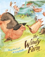 Book cover with animals amidst a wind storm