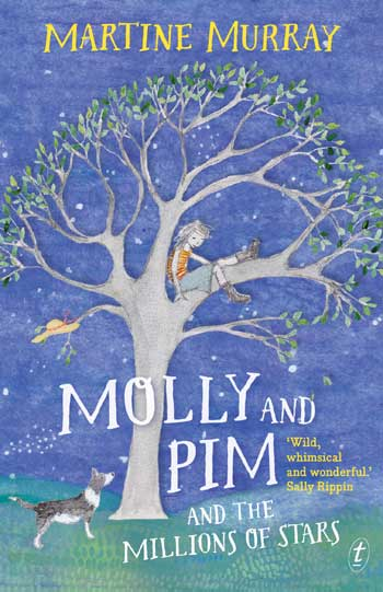 Molly in a tree with Pim below on book cover
