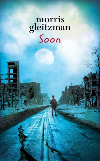 Book cover with boy in a the street of a bombed city