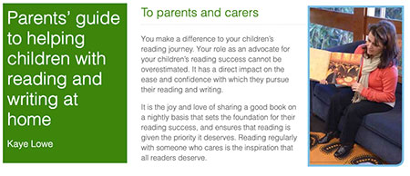 Page view of the online Parents Guide to helping children with reading and writing at home