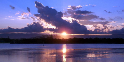 Image of a sunset over Lake Illawarra