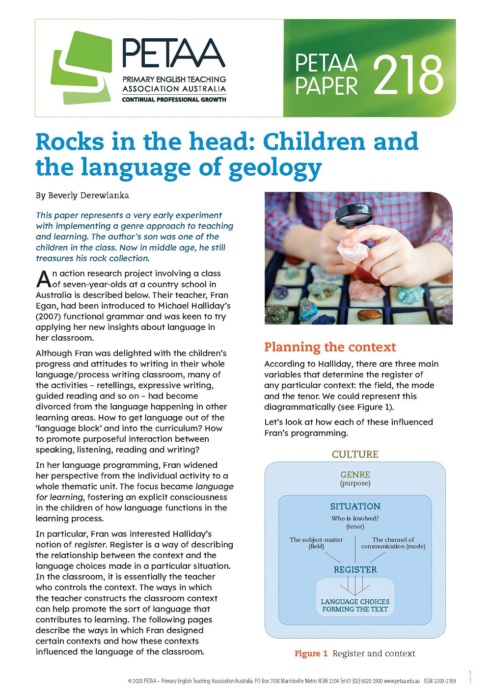 PP218: Rocks in the head: Children and the language of ...