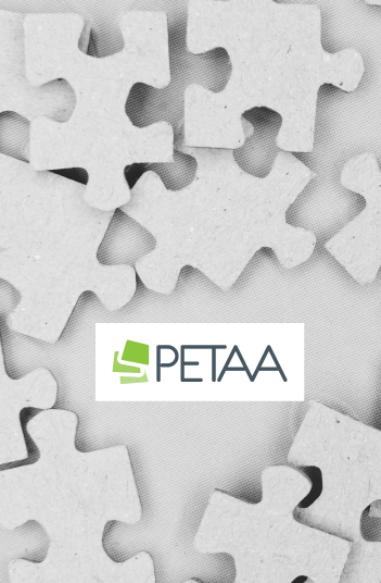 Jigsaw shapes with PETAA logo