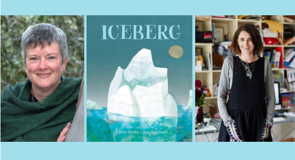 Iceberg book cover centre with Claire Saxy (left) and Jess Racklyeft